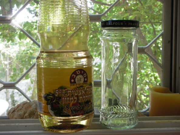 glass jar and vinegar